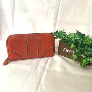 ボッテガヴェネタ(Bottega Veneta)のボッテガヴェネタ 長財布 チャック式 オレンジ 編み込み 財布 レディース(財布)