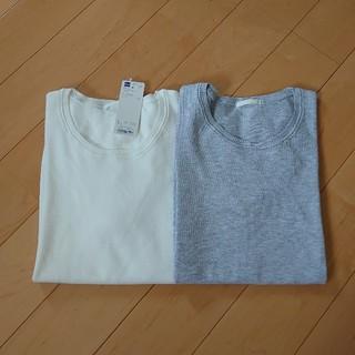 ジーユー(GU)の新品美品GU半袖クルーネックセーター2枚セットL白いライトグレー(Tシャツ(半袖/袖なし))