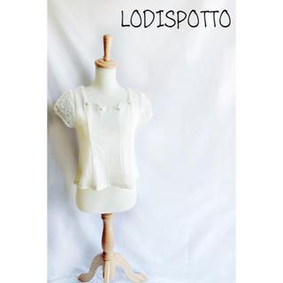 ロディスポット(LODISPOTTO)の☻︎ロディスポット☻︎未使用 袖フラワーオーガンジースカラップブラウス(シャツ/ブラウス(半袖/袖なし))