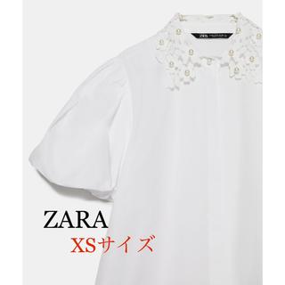 ZARA - 【新品】ザラ ZARA パールディテール付きクロシェ編みポプリンブラウス
