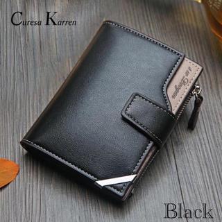 財布 二つ折り財布 レザー 札入れ 小銭入れ カード入れ 名刺入れ ブラック(折り財布)
