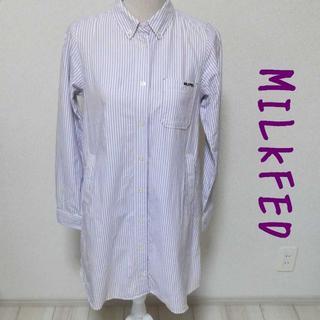 ミルクフェド(MILKFED.)の【MILKFED】ストライプ柄 ボーダー シャツワンピース 紫 Mサイズ(ひざ丈ワンピース)