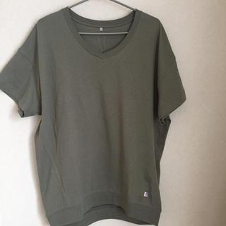 シマムラ(しまむら)の*VネックTシャツ  カーキLL*(Tシャツ/カットソー(半袖/袖なし))