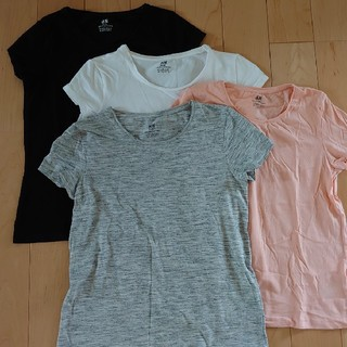 エイチアンドエム(H&M)のH&M無地半袖Tシャツ4枚セット150cm白黒グレーベビーピンク(Tシャツ/カットソー)