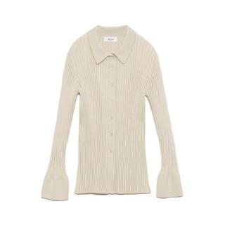 Mila Owen - 【新品】ミラオーウェン  オーガニックコットン衿付ニットシャツ サイズ1