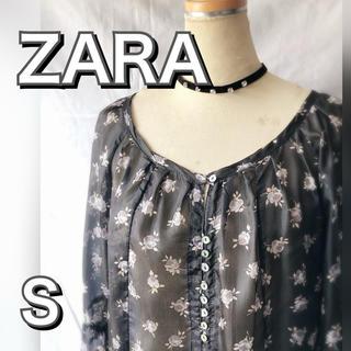 ザラ(ZARA)のZARA小花柄 シルクチュニック ブラウスSILK(シャツ/ブラウス(長袖/七分))
