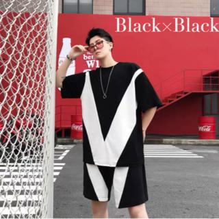メンズ セットアップ Tシャツ ハーフパンツ オーバーサイズ ブラック ホワイト(その他)