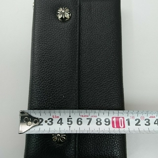 Chrome Hearts - クロムハーツタイプ ウェーブウォレット クロスボタン三つ折り長財布