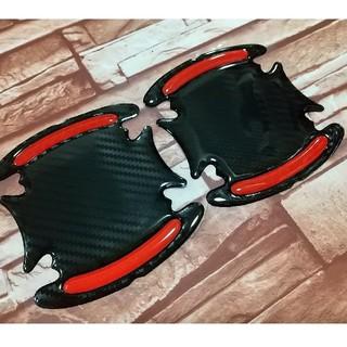 3Dタイプドアプロテクター 超光沢5Dカーボン ブラック×レッド 2枚セット