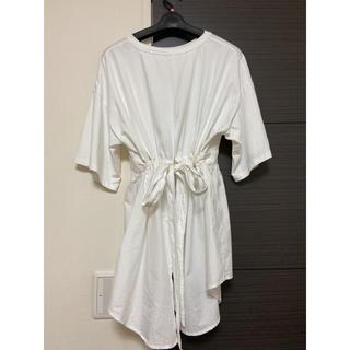 ミスティウーマン(mysty woman)の異素材チュニック 変形トップス ティーシャツ(Tシャツ(半袖/袖なし))