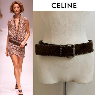 セリーヌ(celine)のCELINE PARIS VINTAGE 2002SS エンボス加工レザーベルト(ベルト)