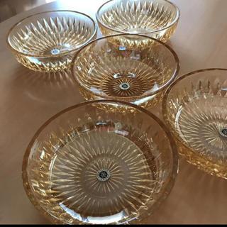 東洋佐々木ガラス - アンバー色 ガラス食器 昭和レトロ 5枚セット売り