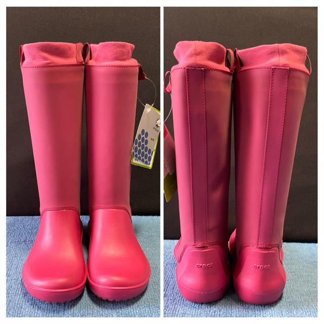 crocs(クロックス)の【新品・未使用】CROCS クロックス レインブーツ ピンク W4 (20cm) キッズ/ベビー/マタニティのキッズ靴/シューズ(15cm~)(長靴/レインシューズ)の商品写真