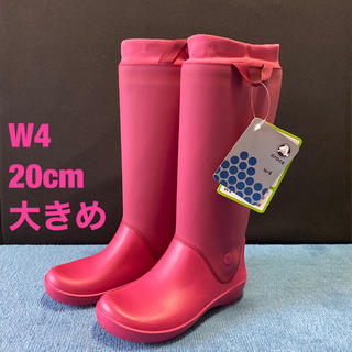 crocs - 【新品・未使用】CROCS クロックス レインブーツ ピンク W4 (20cm)