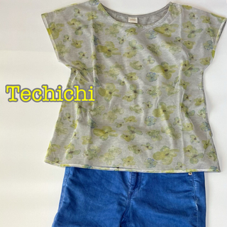テチチ(Techichi)のTechichi テチチのフラワープリントプルオーバーTシャツ/花柄/新品(カットソー(半袖/袖なし))