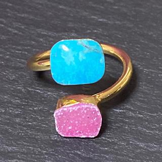 ローズバッド(ROSE BUD)のK18GP 天然石 リング 指輪 ターコイズ&ドゥルージー A(リング(指輪))