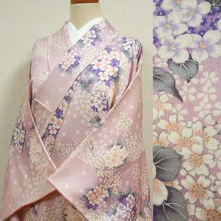 淡いピンク色に桜と紫陽花 小紋(着物)