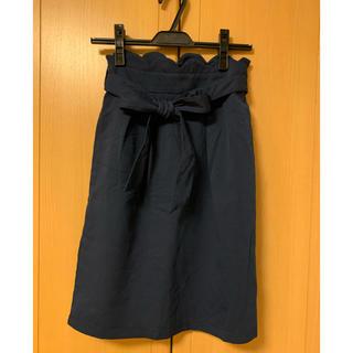 グレイル(GRL)の膝丈 タイト  スカート ネイビー リボン紐付き(ひざ丈スカート)