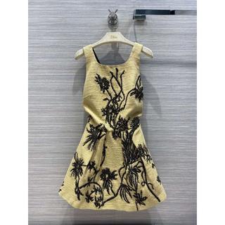 ディオール(Dior)の【DIOR】ボタニカル刺繍 タッサーシルク ミニ ドレス(ひざ丈ワンピース)