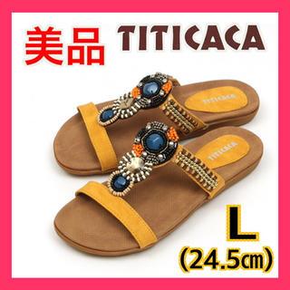 チチカカ(titicaca)の美品 チチカカ TITICACA ミックスビーズサンダル イエロー L 24.5(サンダル)