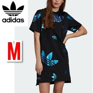 adidas - アディダスオリジナルス ラージロゴ Tシャツ ワンピース 半袖 ブラック