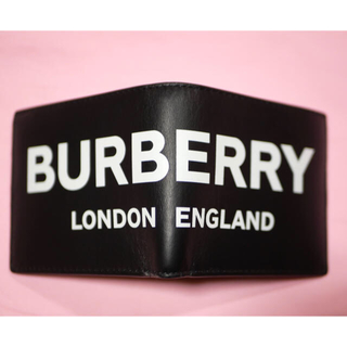 バーバリー(BURBERRY)の【新品未使用】バーバリー メンズ 二つ折り財布 ロゴ レザー ブラック(折り財布)