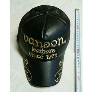 バンソン(VANSON)のキャップ 合皮 黒 金文字刺繍(キャップ)