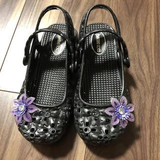 サンダル 18.0 黒 お花