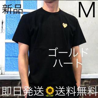 COMME des GARCONS - 入手困難 Mサイズ プレイコムデギャルソン ゴールド Tシャツ ブラック