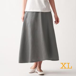 ムジルシリョウヒン(MUJI (無印良品))の無印良品   フレンチリネンフレアースカート  婦人XL・カーキベージュ (ロングスカート)