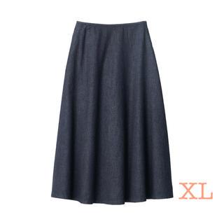 ムジルシリョウヒン(MUJI (無印良品))の無印良品 ストレッチライトオンスデニムフレアースカート XL・ダークネイビー (ロングスカート)