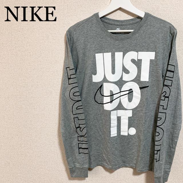 NIKE(ナイキ)の★未使用★NIKE ロンT メンズM グレー JUST DO IT ビッグロゴ メンズのトップス(Tシャツ/カットソー(七分/長袖))の商品写真