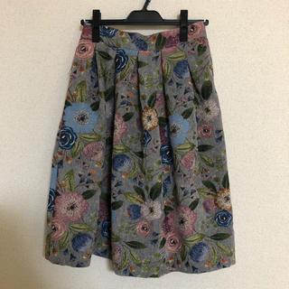 ディーホリック(dholic)のDHOLIC フローラル刺繍フレアスカート(ひざ丈スカート)