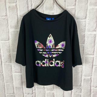 adidas - 美品 adidas Tシャツ 花柄 ショート トレフォイル ロゴ 古着 プリント