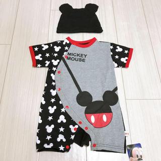 Disney - 新品 ディズニー ミッキー ロンパース 帽子 セット 80