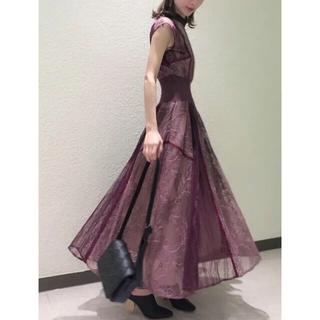 スナイデル(snidel)の新品タグ付き スナイデル スィッチングレースドレス ミント ピンク (ロングドレス)