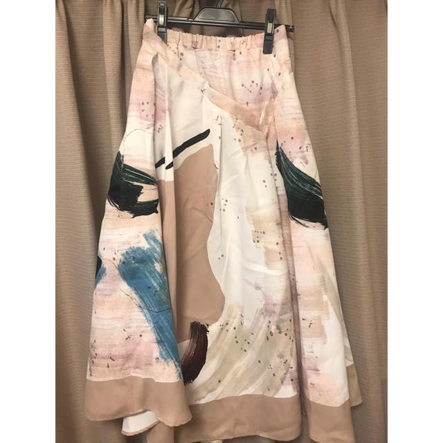 Ameri VINTAGE(アメリヴィンテージ)のAmeri MARY PAINTING FLARE SKIRT スカート レディースのスカート(ロングスカート)の商品写真