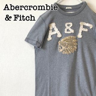 Abercrombie&Fitch - アバクロ Tシャツ 半袖 グレー Sサイズ インディアン 刺繍ロゴ