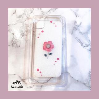 ピンク フラワーレジン iPhone11ProMaxケース (iPhoneケース)