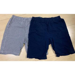 ムジルシリョウヒン(MUJI (無印良品))の無印良品 サッカー織りショートパンツ 紳士L・チェック、ネイビー(各1枚)(ショートパンツ)