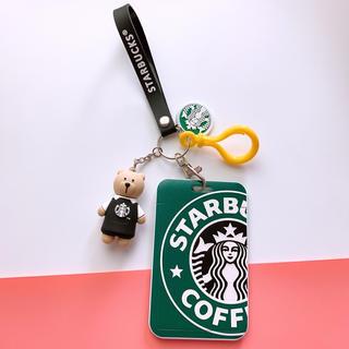 Starbucks Coffee - スターバックスベアリスタ   キーホルダー ストラップ 定期券入れ 黒エプロン