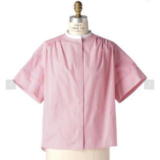 Drawer - ☆ドゥロワー   バンドカラー ブラウス ストライプ  シャツ 半袖 36
