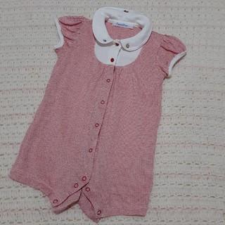 familiar - ファミリア 襟付き 半袖 刺繍 ロンパース 赤 80 ファミちゃん フォーマル