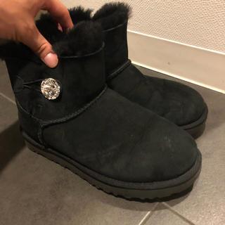 アグ(UGG)のUGG ムートンブーツ 黒 スワロフスキー 24cm(ブーツ)