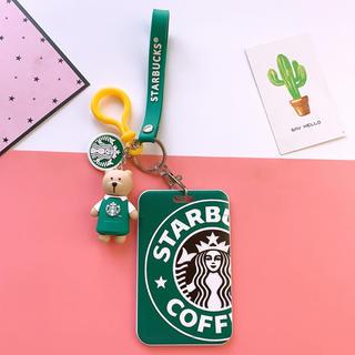 Starbucks Coffee - スターバックスベアリスタ   キーホルダー ストラップ 定期券入れ 緑エプロン
