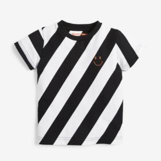 ネクスト(NEXT)の新作 nex 即売品 ❤️ ホワイト 斜めストライプ ニコちゃん Tシャツ (Tシャツ/カットソー)