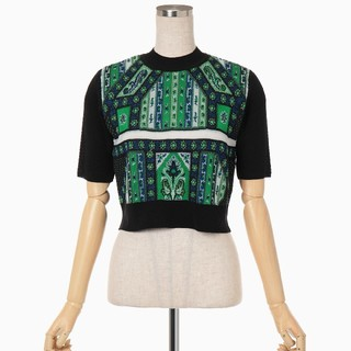 mame - mame☆cropped knit top-green☆新品未使用品