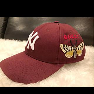 Gucci - キャップ ★GUCCI ニューヨーク・ヤンキース ★ えんじ色 ボルドー