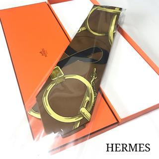 エルメス(Hermes)の☆美品☆HERMES エルメス  スカーフ柄 ネクタイ(ブラウン)(ネクタイ)