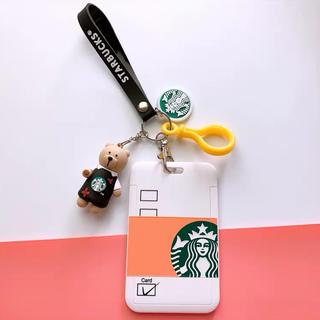 Starbucks Coffee - スターバックスベアリスタ   キーホルダー ストラップ 定期券入れ ホワイト